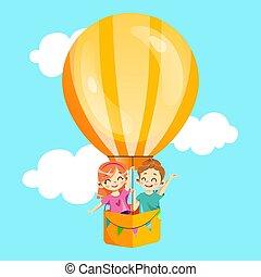 暑い, concept., 空気, template., スタイル, 男の子, 子供, イラスト, 若い 女の子, 漫画, 招待, パーティー, ベクトル, 幸せ, balloon, invitation., 平ら, 飛行, clouds., 微笑, birthday, でき事