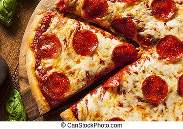 暑い, pepperoni, 手製, ピザ