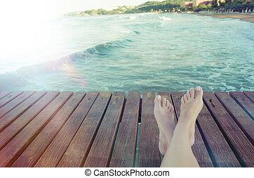 暑假, 概念, 背景, 由于, 腿, 在上方, 木 板條