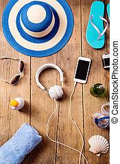 暑假, composition., 帽子, 耳機, smartphone.