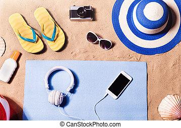 暑假, composition., 涼鞋, 帽子, 以及, 其他, 材料, agains