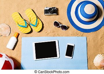 暑假, composition., 涼鞋, 帽子, 片劑, 以及, smartphone