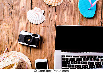 暑假, composition., 膝上型, 照像機, 帽子, 殼, 用指輕彈, fl