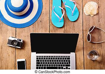 暑假, composition., 膝上型, 照像機, 聰明, 電話。