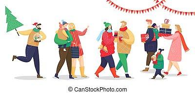 暖かい, 身に着けていること, 人々, 衣服, 準備, 年, 新しい