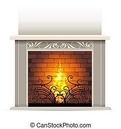 暖炉, イラスト, クラシック