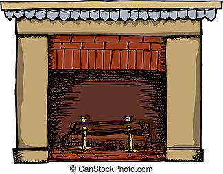 暖炉, イラスト