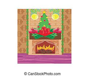暖炉, クリスマス, 部屋