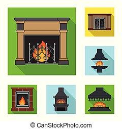 暖炉, ベクトル, design., 建設, 平ら, セット, 網, 株, 別, コレクション, シンボル, アイコン, 種類, illustration.
