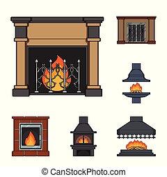 暖炉, ベクトル, design., 建設, 漫画, セット, 網, 株, 別, コレクション, シンボル, アイコン, 種類, illustration.
