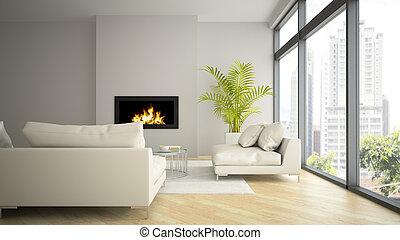 暖炉, 内部, 3d, レンダリング, 現代, やし, 屋根裏, 2
