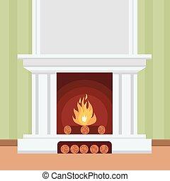 暖炉, 平ら, スタイル, デザイン