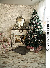 暖炉, 肘掛け椅子, 木, クリスマス