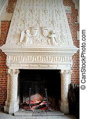 暖炉, 錠, 古い, フランス