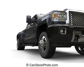 暗い灰色, ピックアップ トラック, -, 低い 角度, ヘッドライト, クローズアップ, 打撃