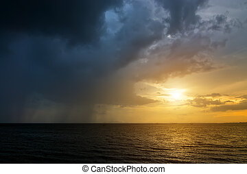 暗い雲, そして, 雨, ありなさい, 落ちる, ∥, sea.