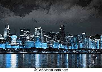 暗い雲, 上に, 金融, 地区, 夜で