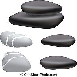 暗い, そして, 灰色, 小石, 上に, a, 白, バックグラウンド。