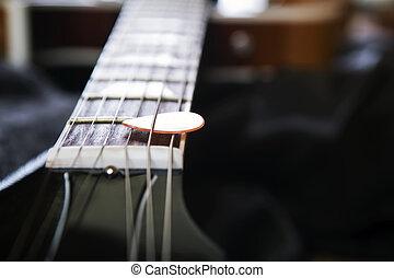 暗い, ギター, piectrum, 背景, 音響