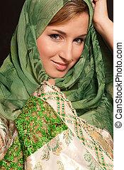 暗い, クローズアップ, 女, 若い, アラビア人, 背景, 肖像画, ベール