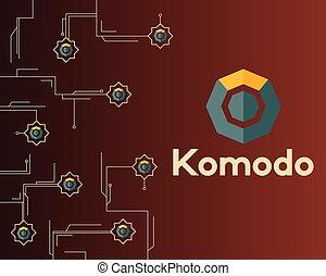 暗い, シンボル, blockchain, 背景, komodo