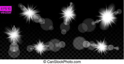 暗い, セット, 大きい, レンズ, ランプ, ライト
