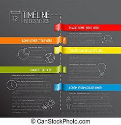 暗い, タイムライン, レポート, infographic, テンプレート