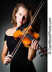 暗い, バイオリン, 女, 部屋