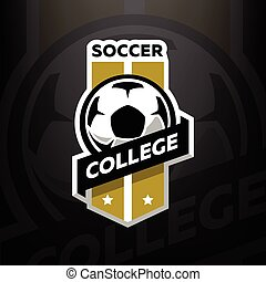 暗い, バックグラウンド。, サッカー, 大学, ロゴ