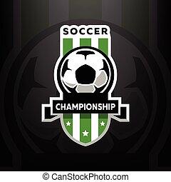 暗い, バックグラウンド。, サッカー, 選手権, ロゴ
