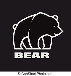 暗い, バックグラウンド。, モノクローム, ロゴ, 熊