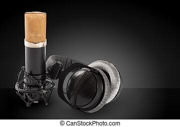 暗い, マイクロフォン, ヘッドホン, コンデンサー, 背景
