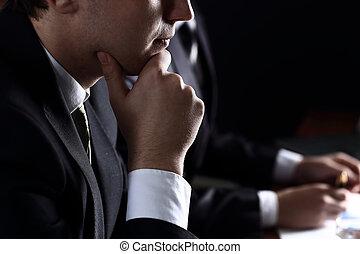 暗い, ミーティング, 背景, ビジネス チーム