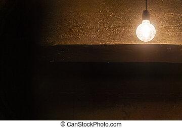 暗い, ライト, 天井, に対して, 電球