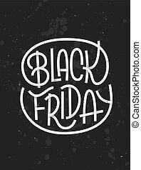 暗い, レタリング, 金曜日, 黒い背景