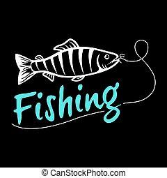 暗い, ロゴ, 隔離された, 背景, 釣り