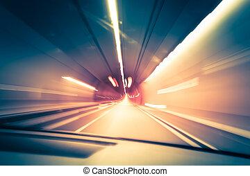 暗い, 交通, tracks., 地下, ぼやけ, 抽象的, ぼんやりさせられた, トンネル, バックグラウンド。, 動き, ライト