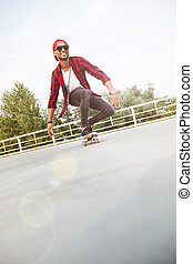 暗い, 人, 皮をむかれた, 若い, skateboarding