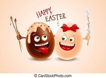 暗い, 卵, イースター, 楽しみ, 白いチョコレート