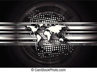 暗い, 地図, 技術, 背景, 世界