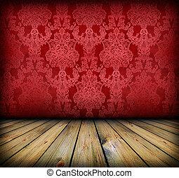 暗い, 型, 部屋, 赤