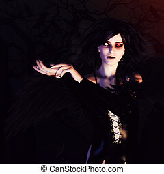 暗い, 天使, 中に, ∥, 森林