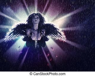 暗い, 天使, 雨