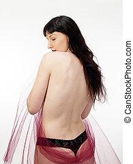 暗い, 女性の背部, 毛, 裸, 黒, パンティー
