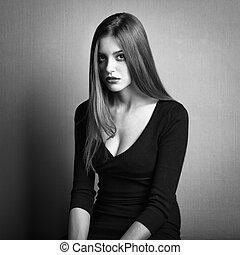 暗い, 女, 写真, 若い, 毛の方法