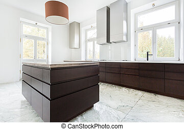 暗い, 家具, 現代, 台所
