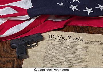 暗い, 州, 13, 木, 背景, ピストル, 旗, 憲法, 星, 合併した, 現代