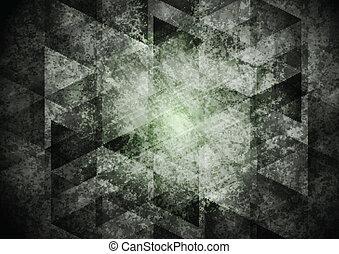 暗い, 幾何学, グランジ, 灰色, 背景