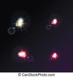 暗い, 明るい, ベクトル, 星, 背景