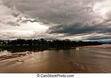 暗い, 曇り, 風景, 川